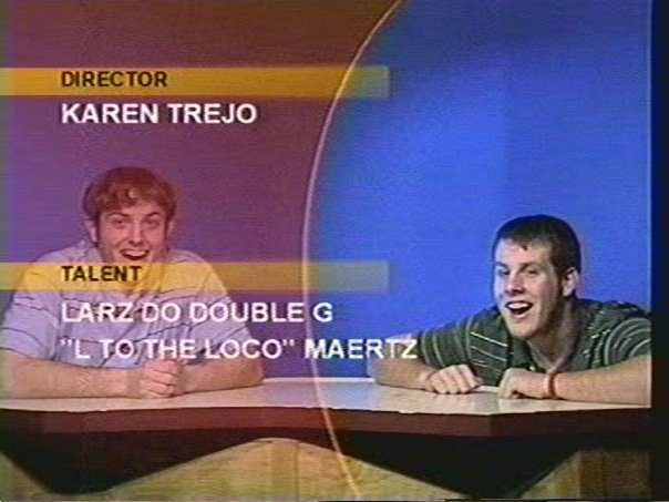 Rob and Tim anchoring the Richfield High School announcements in 2005