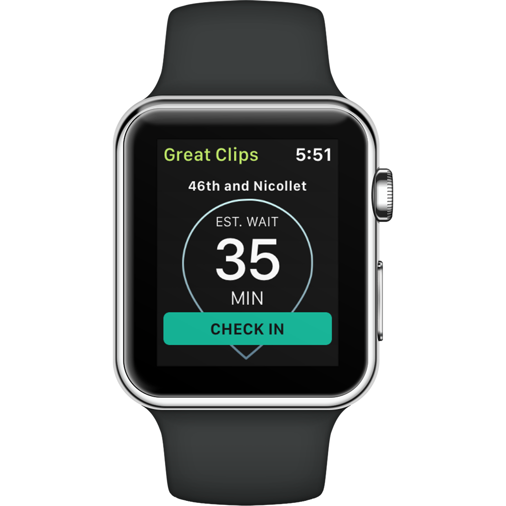 Mockup of the Great Clips app in an Apple Watch